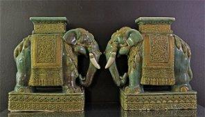 Coppia sgabelli in maiolica-Pair of majolica stools