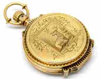 14KYG Illinois 8s 7j 1881 Hunter Case Pocket Watch