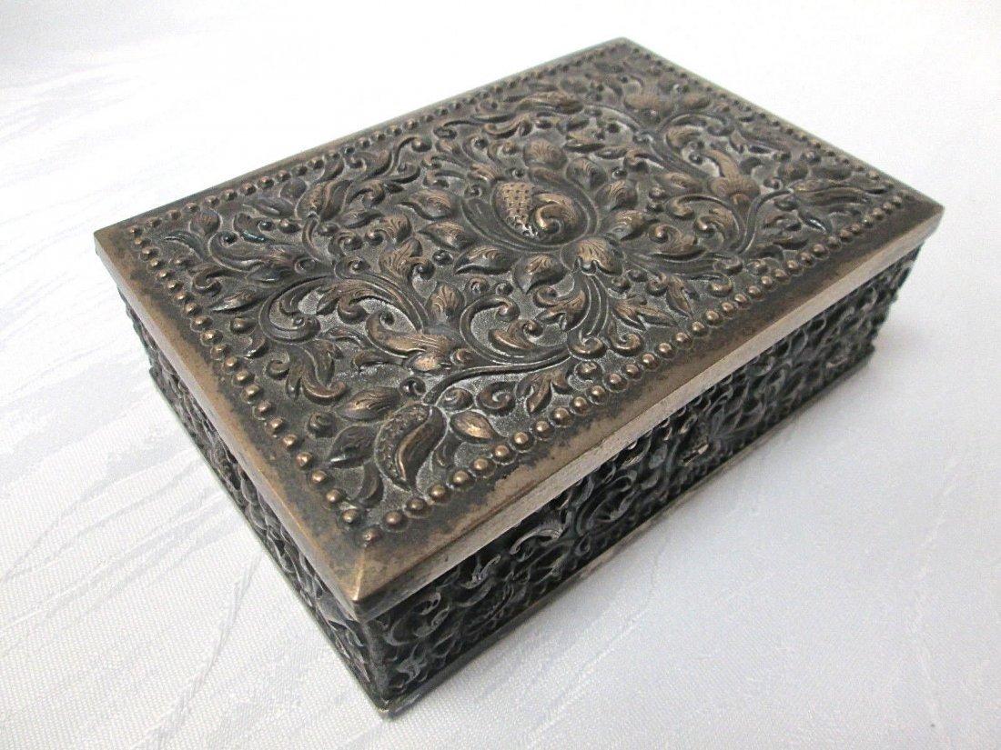 ANTIQUE 800 SILVER REPOUSSE FOLIATE JEWELRY DRESSER BOX