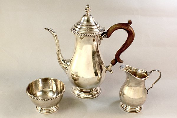 STERLING 3PC SILVER COFFEE SET C.1900