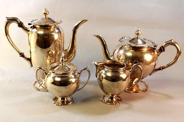 4PC PERUVIAN STERLING COFFEE & TEA SET