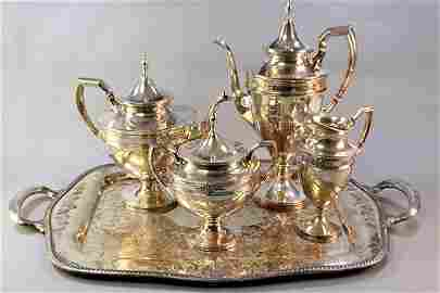 4 PC STERLING SILVER J.S. CO TEA SET ON SERVING TRAY