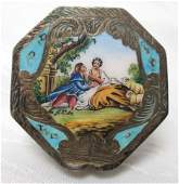 ANTIQUE 800 SILVER EUROPEAN SCENIC LOVERS ETCHED ENAMEL