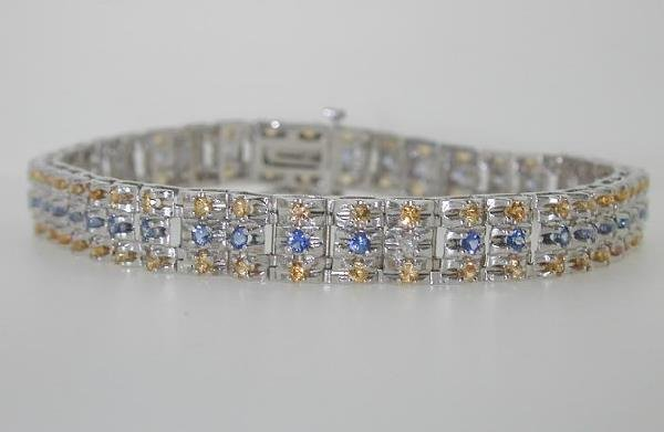 14: 5 CT YELLOW BLUE SAPP AND DIA 14K 14.5 GR