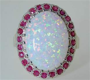 6 CT RUBY AND SIMULATED OPAL 14K 6.7GR