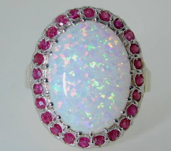 17: 6 CT RUBY AND SIMULATED OPAL 14K 6.7GR