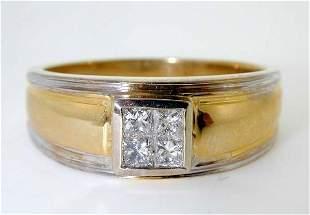 0.55 CT DIAMOND VS2 PRINCESS CUT MENS RING