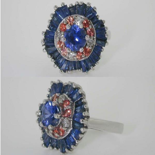 2010: 4 CT ORANGE BLUE SAPP AND DIA 14K 7GR