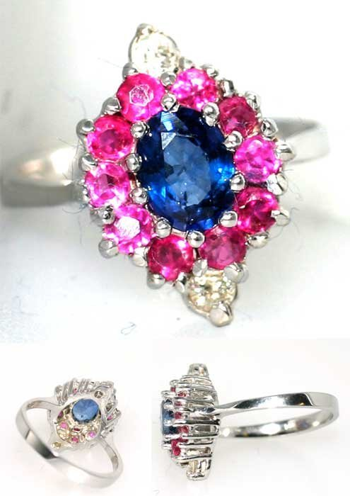 4014: 2 CT DIA PINK AND BLUE SAPP 14K 3.7GR