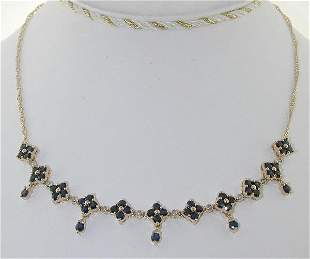 4.20 CT DI. AND SAPP NECKLACE 14K