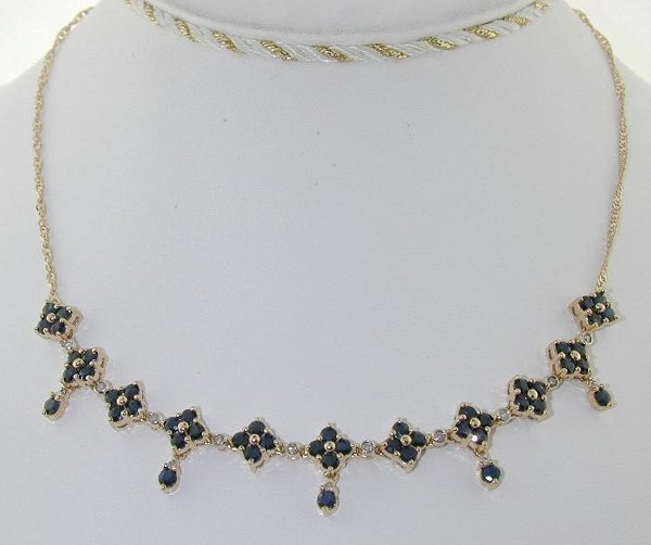 5007: 4.20 CT DI. AND SAPP NECKLACE 14K