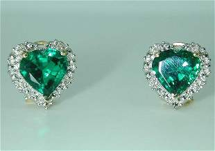 5 CT DI. AND LAB EMERALD EARRINGS