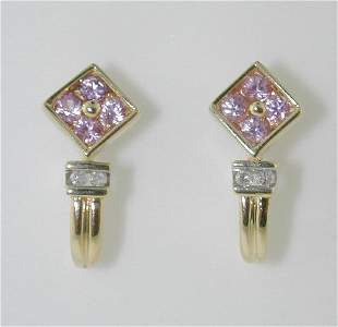 0.60 CT DIAMOND AND PINK SAPPHIRE EARRINGS