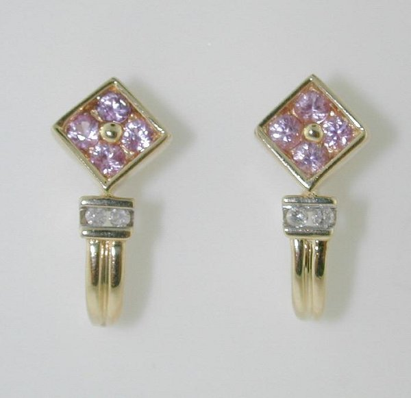5010: 0.60 CT DIAMOND AND PINK SAPPHIRE EARRINGS