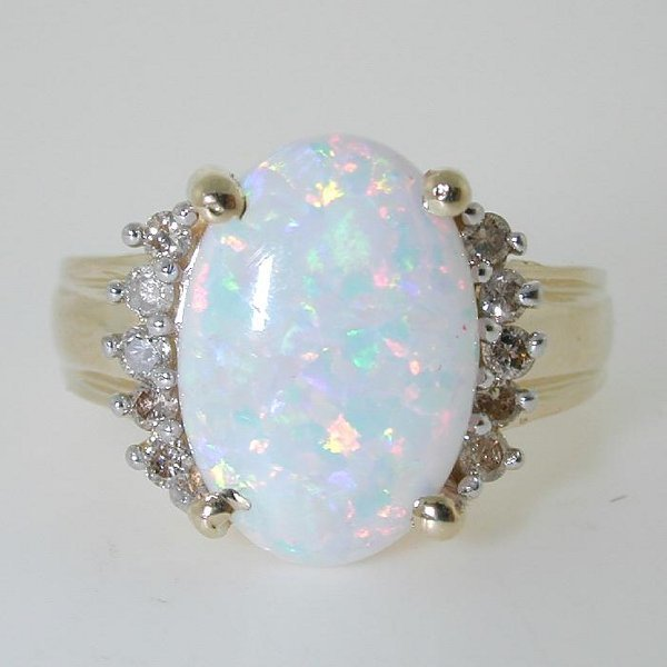 5015: 6 CT OPAL AND DIA 14K 6.5 GR
