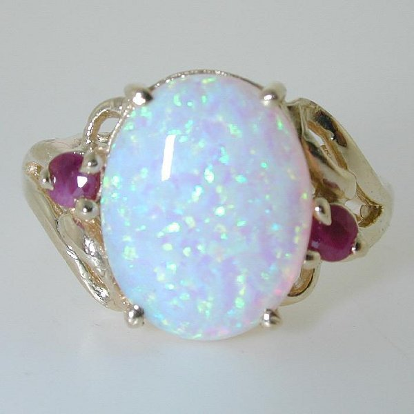 5016: 5 CT OPAL AND DIA 14K 3.5 GR