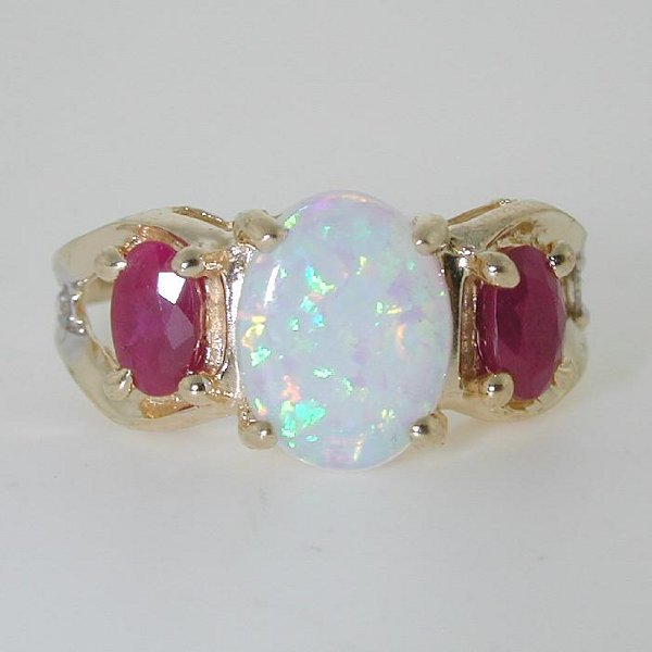 5017: 4 CT OPAL AND DIA 14K 3 GR