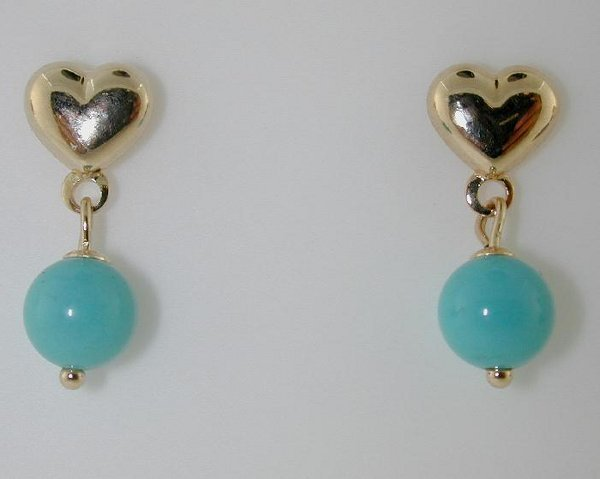 5019: 14 KT GOLD TURQUOISE EARRINGS