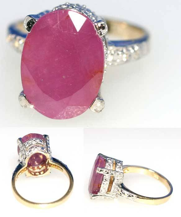 1023: 6CT DIA & RUBY RING 6GR GOLD