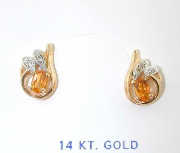 3114: DIAMOND AND CITRINE GOLD EARRINGS