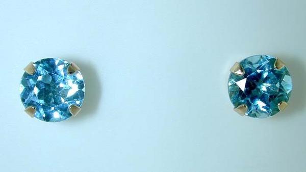 3118: BEAUTIFUL GOLD BLUE TOPAZ EARRINGS