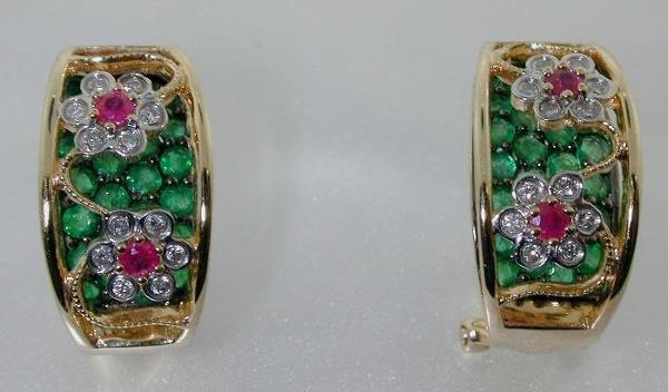 5019: 4 CT DIAMOND RUBY AND EMERALD EARRINGS