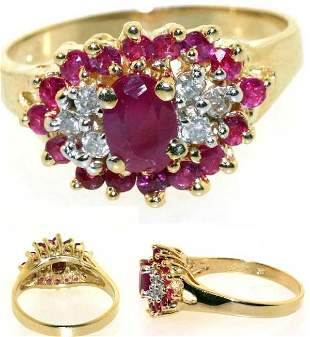 3 CT RUBY AND DIA 14K 3.5 GR