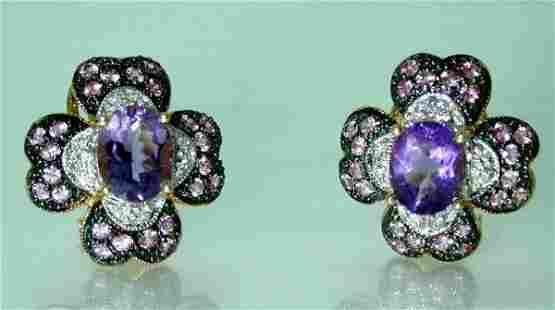 5 CT DIAMOND AND AMETHYST EARRINGS