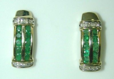 1 CT DIA AND EMERALD EARRINGS