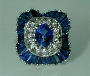 6 CT DIAMOND AND SAPPHIRE 14K RING