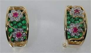 4 CT DIAMOND RUBY AND EMERALD EARRINGS