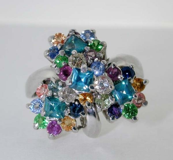 1020: 4 CT DIM. AND MULTI-COLOR GEM RING 14K