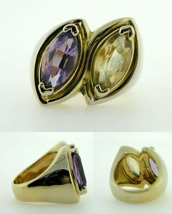 1004: 6 CT AMETHYST AND CITRINE GOLD PLATED SILVER