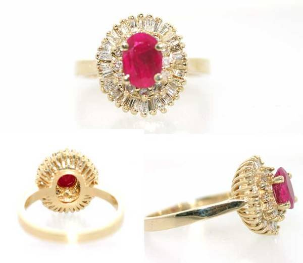 1013: 2 CT RUBY AND DIA 14K 4.5 GR