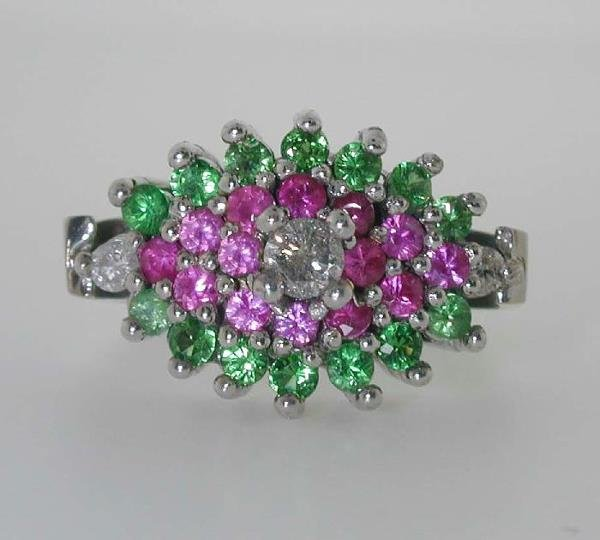 1016: 2.5 CT DIA TSAVORITE AND PINK SAPP 14K