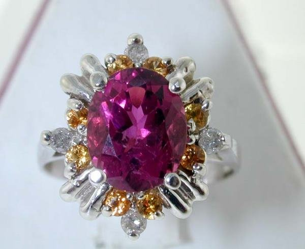 1022: 5 CT ROYAL TOURMALINE DIAMOND AND BLUE SAPPHIRE R