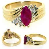 2082: 2 CT DIA AND RUBY 14K 7GR