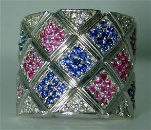 2 CT DIA PINK AND BLUE SAPP 14K 16GR