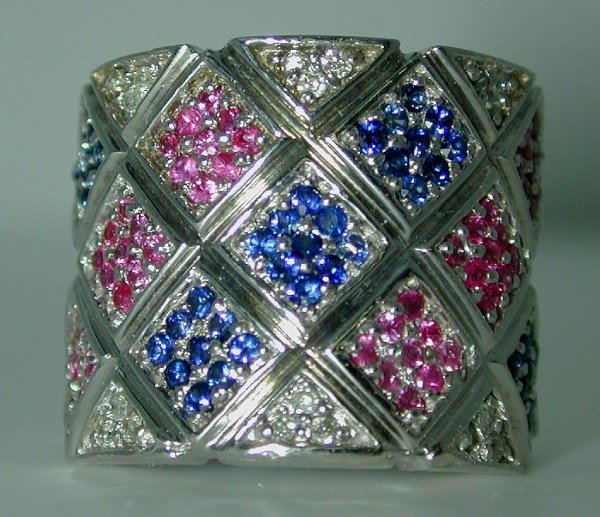 3020: 2 CT  DIA PINK AND BLUE SAPP 14K 16GR