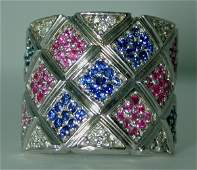 3299: 2 CT DIA PINK AND BLUE SAPP 14K 16GR