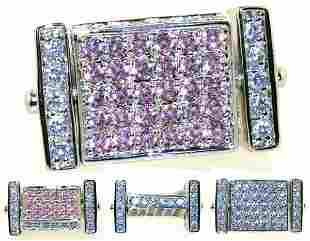 4 CT LAB WHITE AND PINK SAPP SILVER