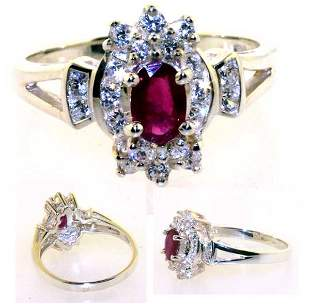 1 CT LAB SAPP AND RUBY SILVER