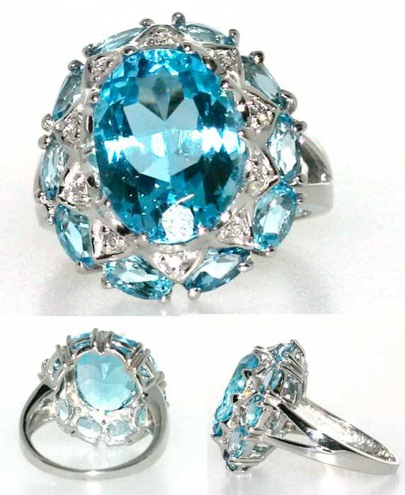 2005: 15 CT DIA AND BLUE TOPAZ 14K 8GR
