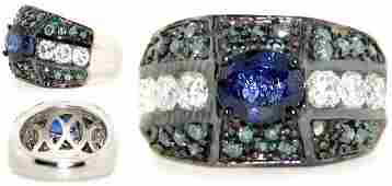 2795: 3.5 CT BLUE/WHITE DIA SAPP 14K 11 GR