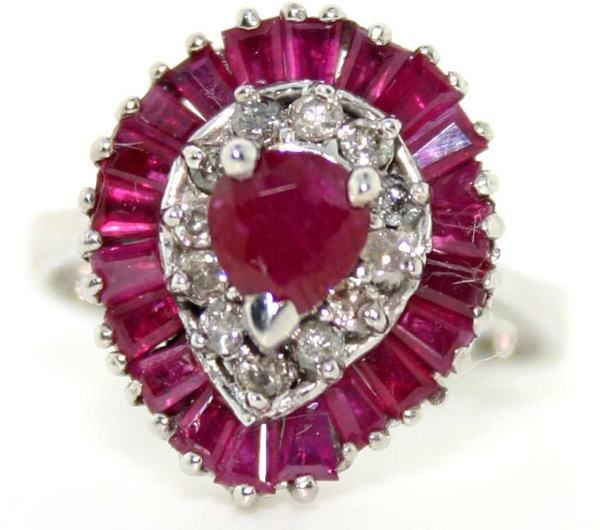2889: 2.5 CT DIAMOND AND RUBY 14K 5 GR