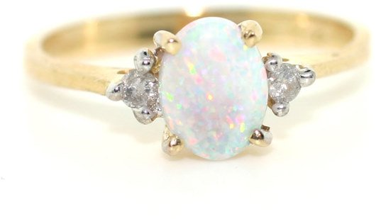 3010: 1 CT DIA AND OPAL 14K RING