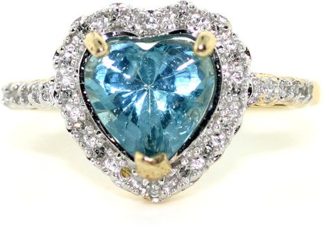 3013: 1 CT DIA AND BLUE TOPAZ RING