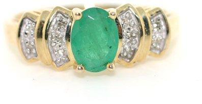 3015: 1 DIAMOND AND EMERALD RING