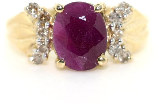 3019: 3 CT DIA AND RUBY 14K RING