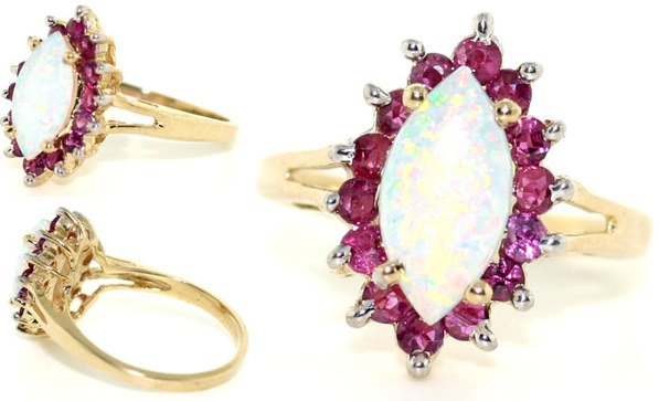 4007: 3 CT RUBY AND OPAL 14K 4.5GR